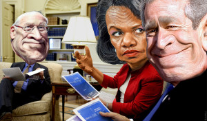 George W. Bush, Condoleeza Rice and Dick Cheney