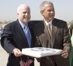 George W. and John McCain share birthday cake in Arizona as Katrina hits New Orleans, 2005