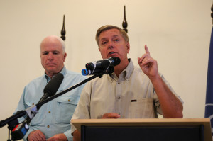 Senator Lindsey Graham with fellow GOP Senator John McCain