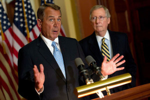 House Speaker John Boehner (R-OH) (L) and Senate Minority Leader Mitch McConnell (R-KY) (R)