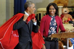 President Obama and First Lady Michelle Obama bring toys to support U.S. Marine Corps Toys For Tots