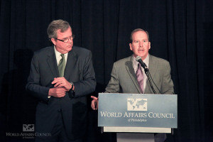 Former Florida Gov. Jeb Bush being introduced at World Affairs Council of Philadelphia in 2012