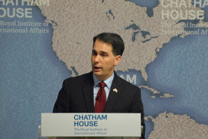 Republican Presidential hopeful Scott Walker in London