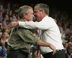 Jeb Bush embraces his brother George W. Bush