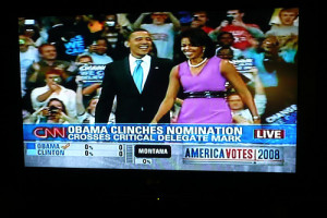 President Obama and First Lady Michelle Obama after clinching 2008 Democratic presidential nomination