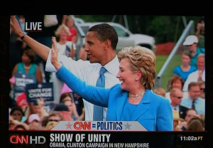 Hillary Clinton and Barack Obama in a show of unity in 2008.