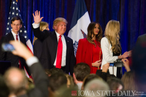 "Donald Trump after giving ""concession"" speech at Iowa Caucus"