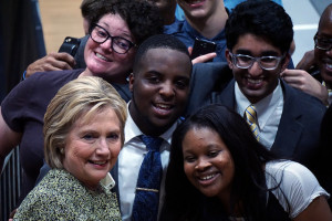 Hillary Clinton with supporters at Hillside High School, Durham, NC.