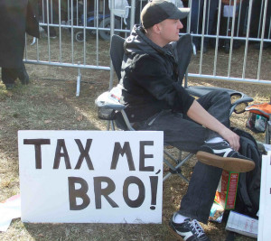 Presumably a pro-tax protester, 2010