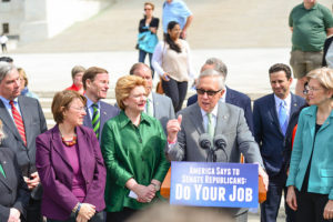 U.S. Senate Minority Leader Harry Reid and other Democratic Senators at U.S. Supreme Court