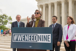 Democratic U.S. Senators Barbara Boxer, Edward Markey and others demonstrate for a full Supreme Court
