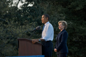 Barack Obama and Hillary Clinton at 2008 Orlando, Florida rally