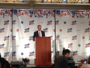 Libertarian Party presidential candidate Gary Johnson delivers keynote address at Politicon 2016.