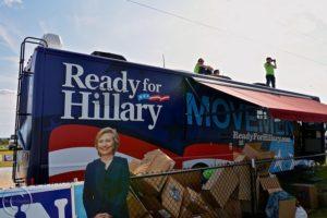 Hillary Clinton campaign truck.