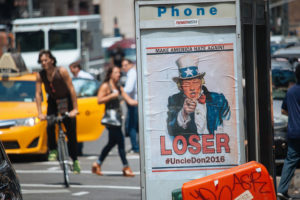 Satirical anti-Donald Trump poster in New York CIty