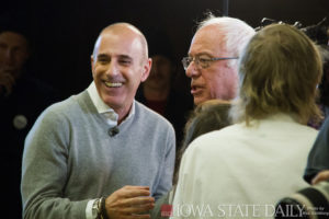 NBC's Matt Lauer with former Democratic presidential candidate Bernie Sanders
