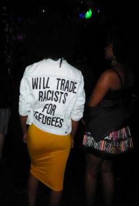 """Will Trade Racists For Refugees"" jacket, Santa Cruz, CA, July 2016"