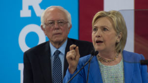Hillary Clinton and Bernie Sanders at unity rally in July 2016.