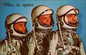 NASA astronauts John Glenn (C), Alan Shepard (R) and Gus Grissom (L)