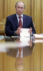 Russian Prime Minister Vladimir Putin chairs Cabinet meeting in Moscow, Feb. 1, 2010. (AP Photo/Alexei Druzhinin, Pool)